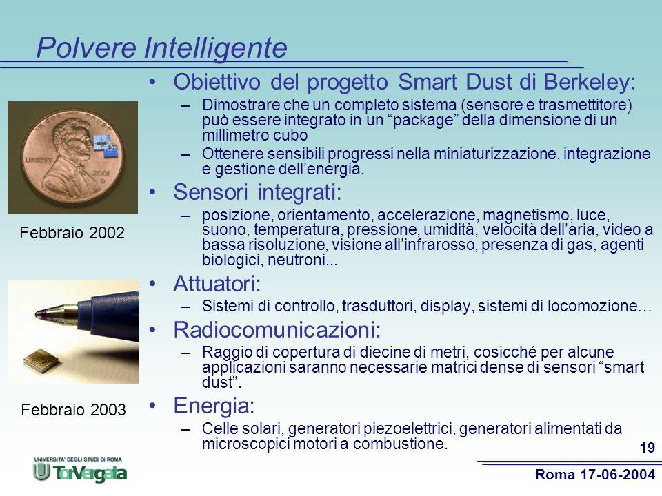 Roma 17-06-2004 19 Polvere Intelligente Obiettivo del progetto Smart Dust di Berkeley: –Dimostrare che un completo sistema (sensore e trasmettitore) può essere integrato in un package della dimensione di un millimetro cubo –Ottenere sensibili progressi nella miniaturizzazione, integrazione e gestione dellenergia.