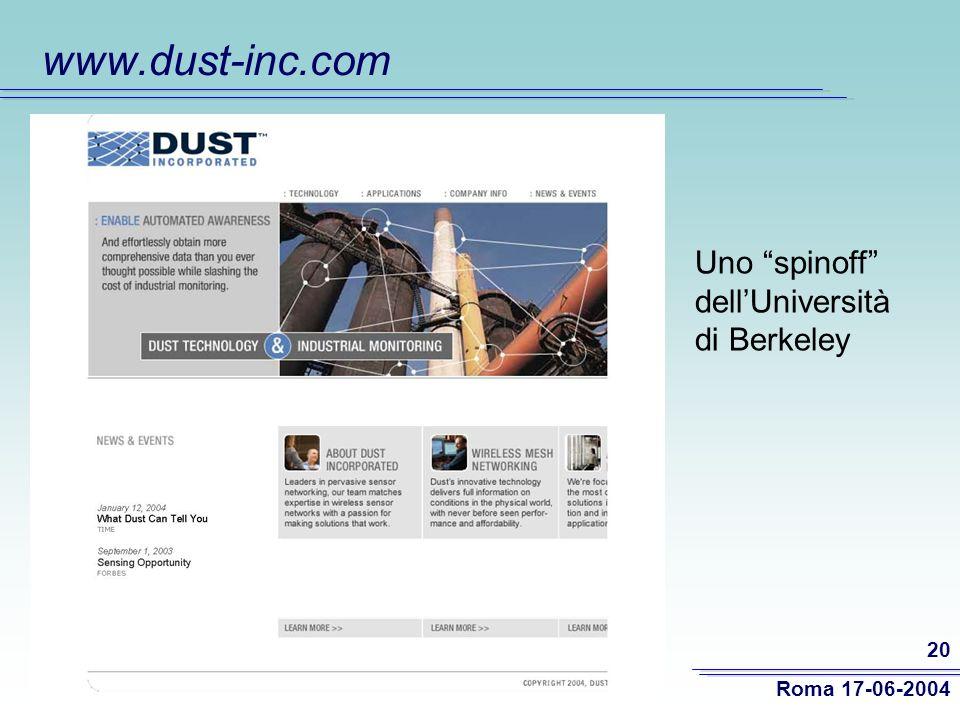 Roma 17-06-2004 20 www.dust-inc.com Uno spinoff dellUniversità di Berkeley