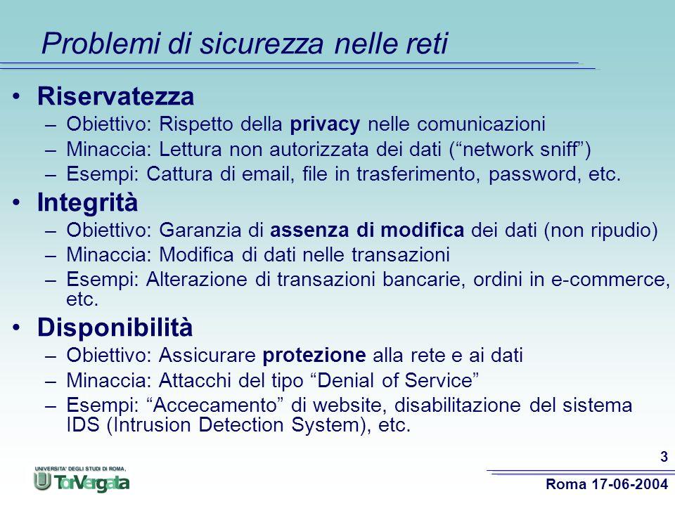 Roma 17-06-2004 3 Problemi di sicurezza nelle reti Riservatezza –Obiettivo: Rispetto della privacy nelle comunicazioni –Minaccia: Lettura non autorizzata dei dati (network sniff) –Esempi: Cattura di email, file in trasferimento, password, etc.