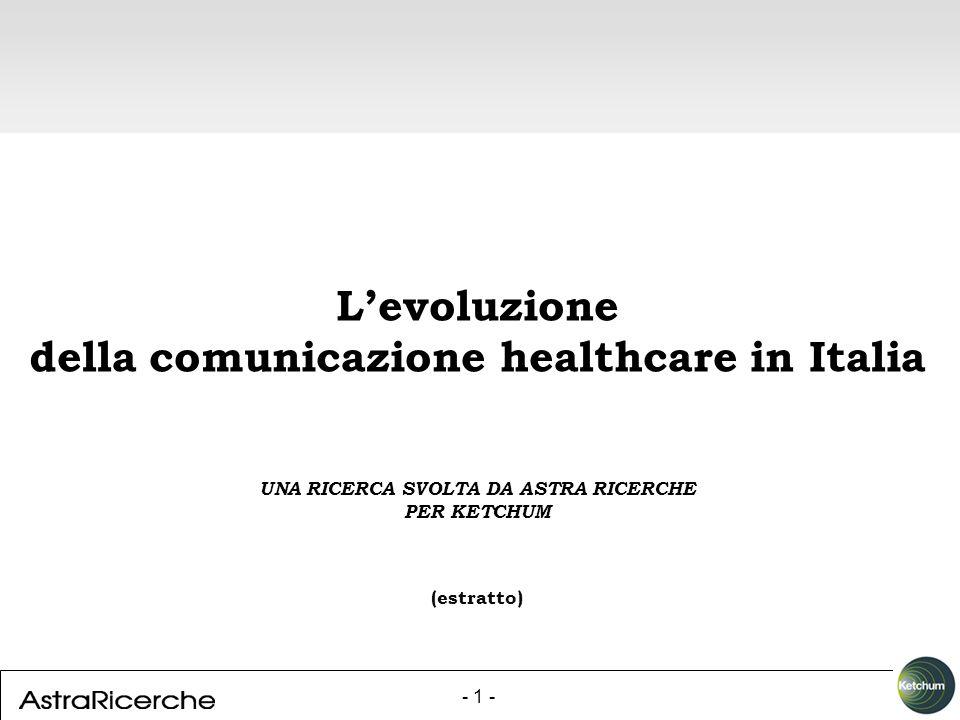 - 1 - Levoluzione della comunicazione healthcare in Italia UNA RICERCA SVOLTA DA ASTRA RICERCHE PER KETCHUM (estratto)