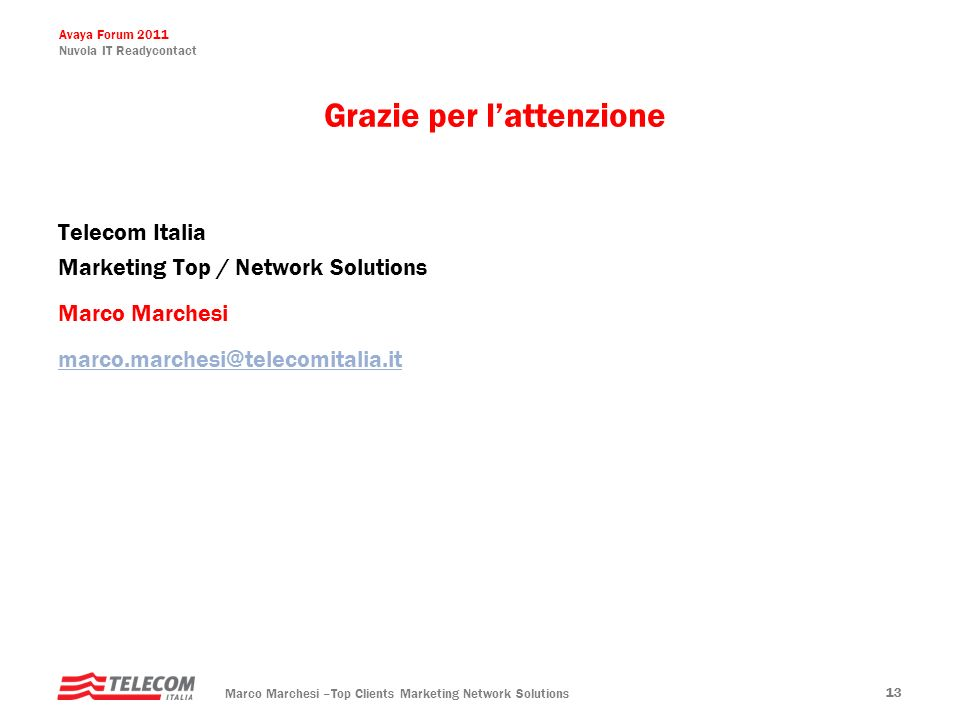 Avaya Forum 2011 Nuvola IT Readycontact Marco Marchesi –Top Clients Marketing Network Solutions 13 Telecom Italia Marketing Top / Network Solutions Ma
