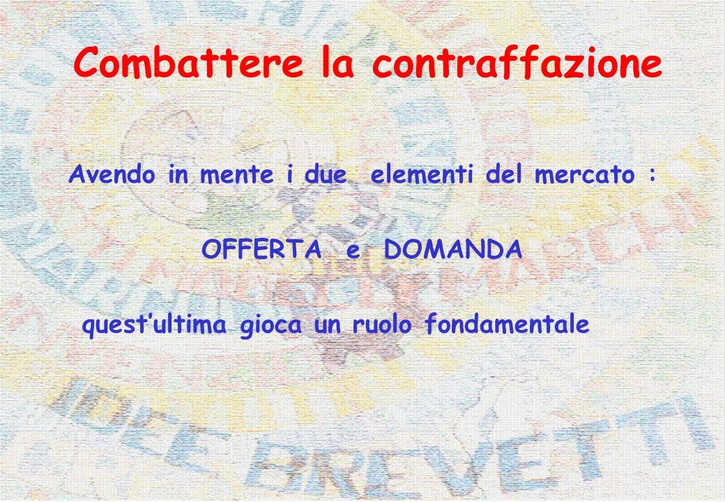 Combattere la contraffazione Avendo in mente i due elementi del mercato : OFFERTA e DOMANDA questultima gioca un ruolo fondamentale