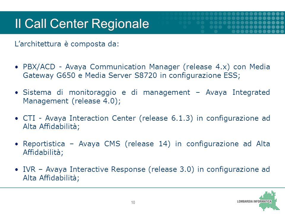 Il Call Center Regionale 10 L architettura è composta da: PBX/ACD - Avaya Communication Manager (release 4.x) con Media Gateway G650 e Media Server S8