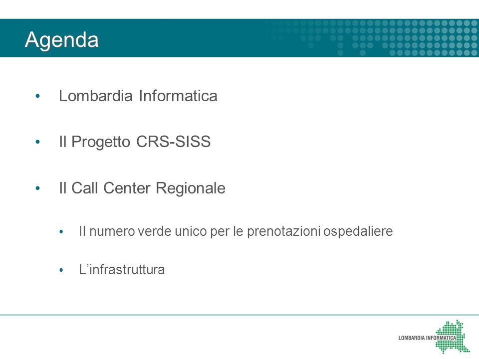 Agenda Lombardia Informatica Il Progetto CRS-SISS Il Call Center Regionale Il numero verde unico per le prenotazioni ospedaliere Linfrastruttura
