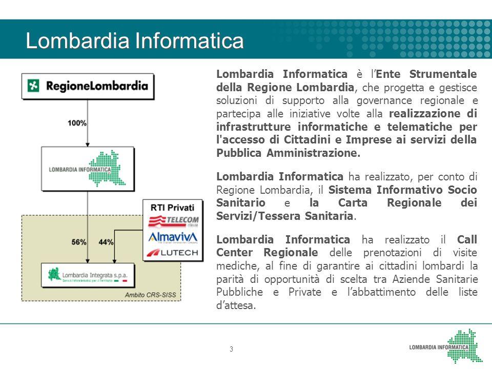 Lombardia Informatica 3 Lombardia Informatica è lEnte Strumentale della Regione Lombardia, che progetta e gestisce soluzioni di supporto alla governan