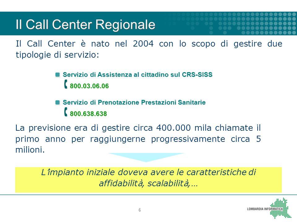 Il Call Center Regionale 6 Servizio di Assistenza al cittadino sul CRS-SISS 800.03.06.06 800.03.06.06 Servizio di Prenotazione Prestazioni Sanitarie 8