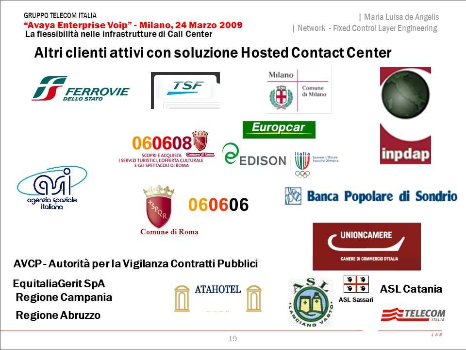 19 La flessibilità nelle infrastrutture di Call Center | Maria Luisa de Angelis | Network - Fixed Control Layer Engineering Avaya Enterprise Voip - Mi