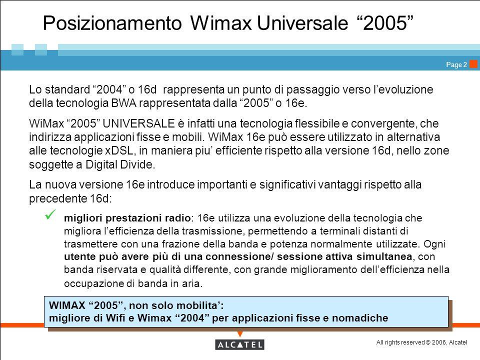 All rights reserved © 2006, Alcatel Page 2 Posizionamento Wimax Universale 2005 Lo standard 2004 o 16d rappresenta un punto di passaggio verso levoluz