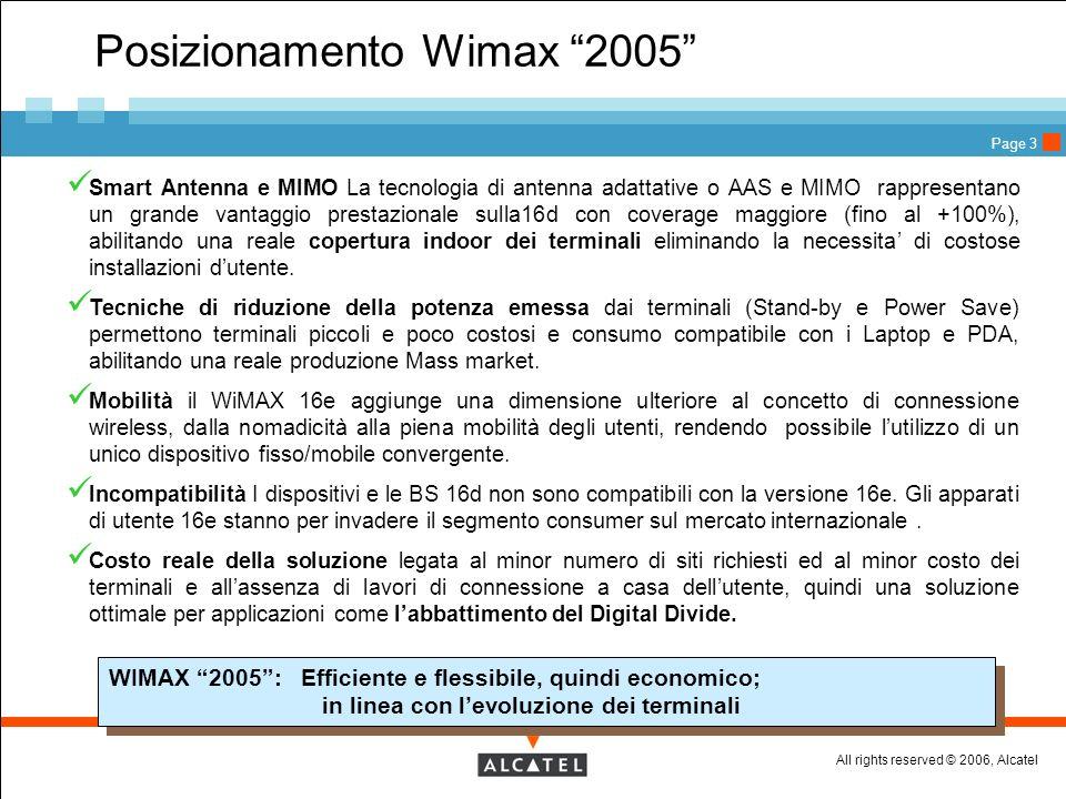 All rights reserved © 2006, Alcatel Page 3 Posizionamento Wimax 2005 Smart Antenna e MIMO La tecnologia di antenna adattative o AAS e MIMO rappresenta