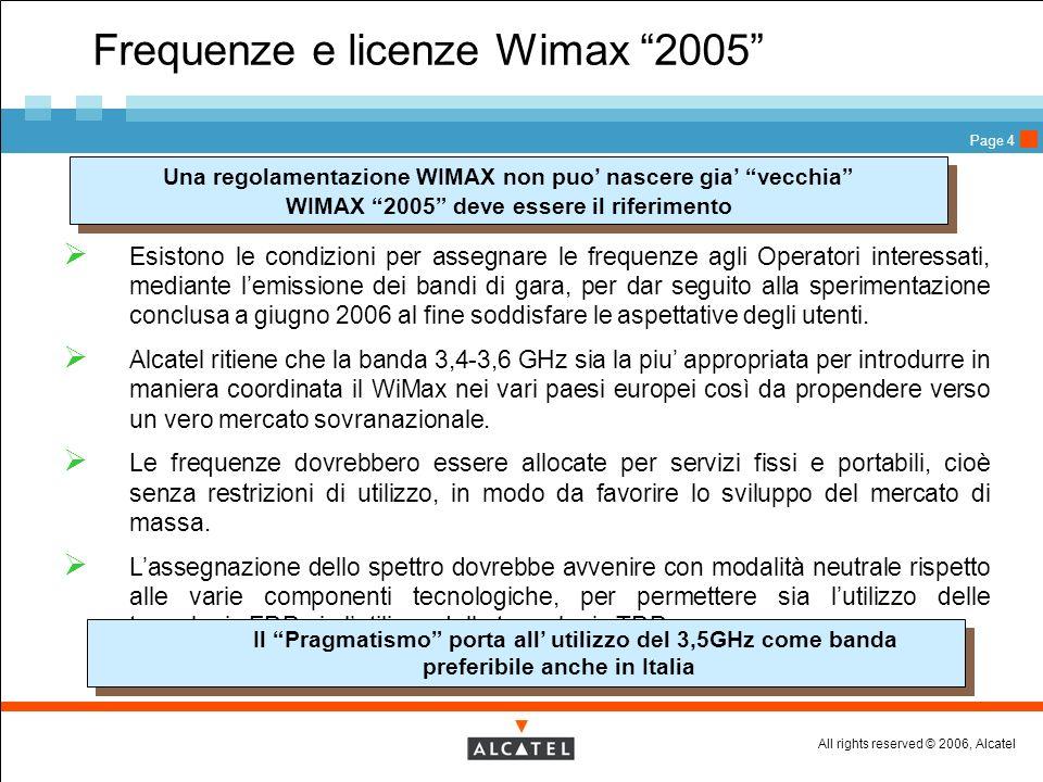 All rights reserved © 2006, Alcatel Page 4 Frequenze e licenze Wimax 2005 Esistono le condizioni per assegnare le frequenze agli Operatori interessati