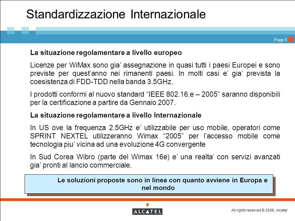 All rights reserved © 2006, Alcatel Page 5 Standardizzazione Internazionale La situazione regolamentare a livello europeo Licenze per WiMax sono gia a