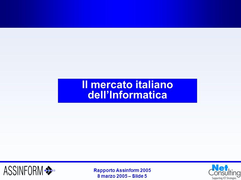 Rapporto Assinform 2005 8 marzo 2005 – Slide 4 Indicatori di diffusione dellICT a livello mondiale Fonte: Assinform / NetConsulting Unità vendute nel mondo (2001 vs 2004 – milioni di unità) Parco 2004 nel mondo (milioni di unità) 2004 2003