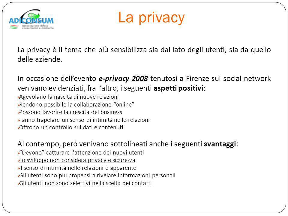 La privacy La privacy è il tema che più sensibilizza sia dal lato degli utenti, sia da quello delle aziende.