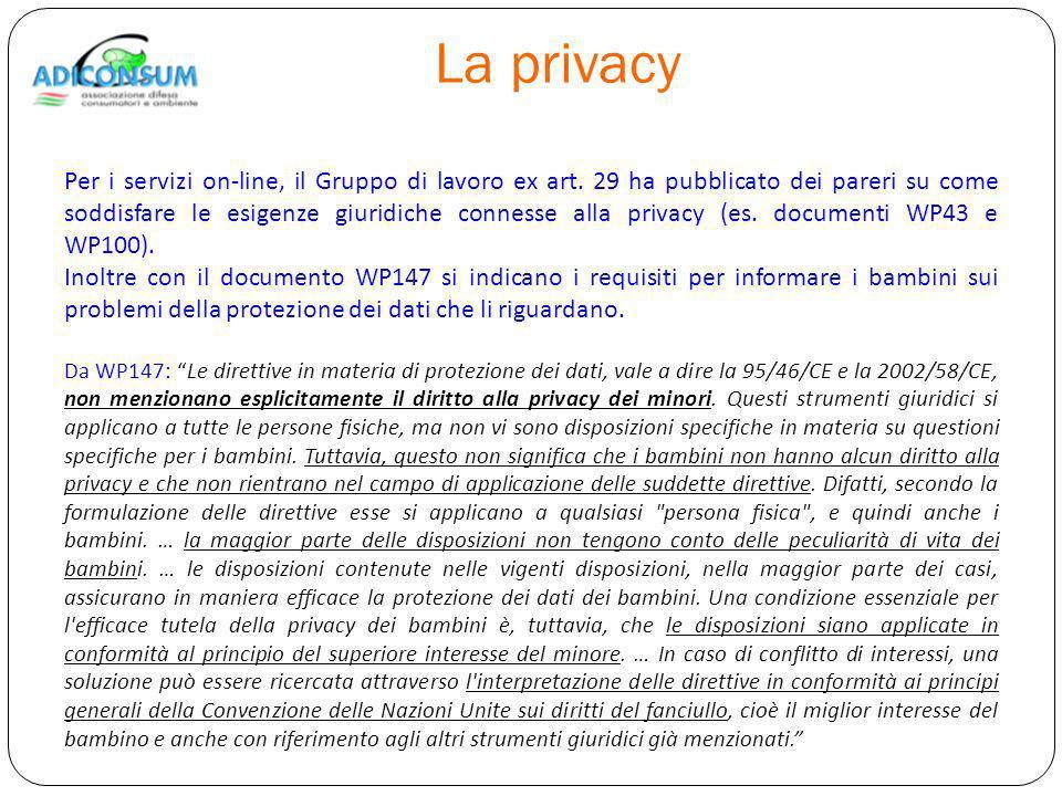 La privacy Per i servizi on-line, il Gruppo di lavoro ex art.