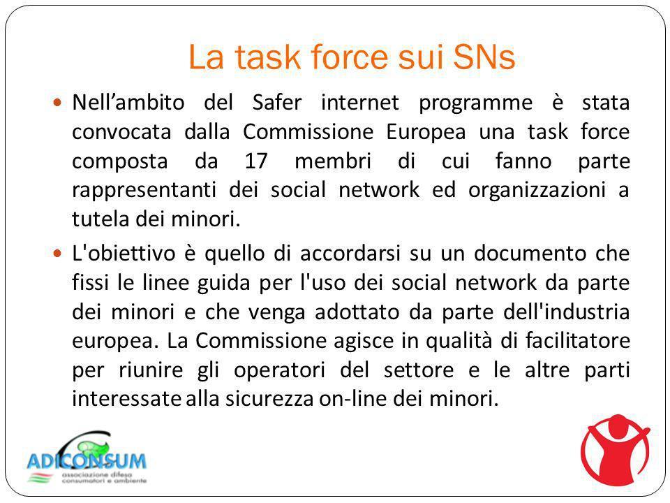 La task force sui SNs Nellambito del Safer internet programme è stata convocata dalla Commissione Europea una task force composta da 17 membri di cui fanno parte rappresentanti dei social network ed organizzazioni a tutela dei minori.
