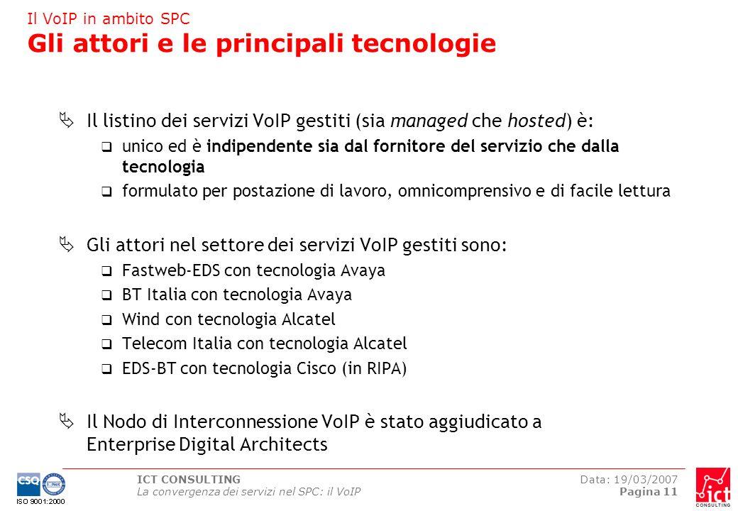 ICT CONSULTING La convergenza dei servizi nel SPC: il VoIP Data: 19/03/2007 Pagina 11 Il VoIP in ambito SPC Gli attori e le principali tecnologie Il l