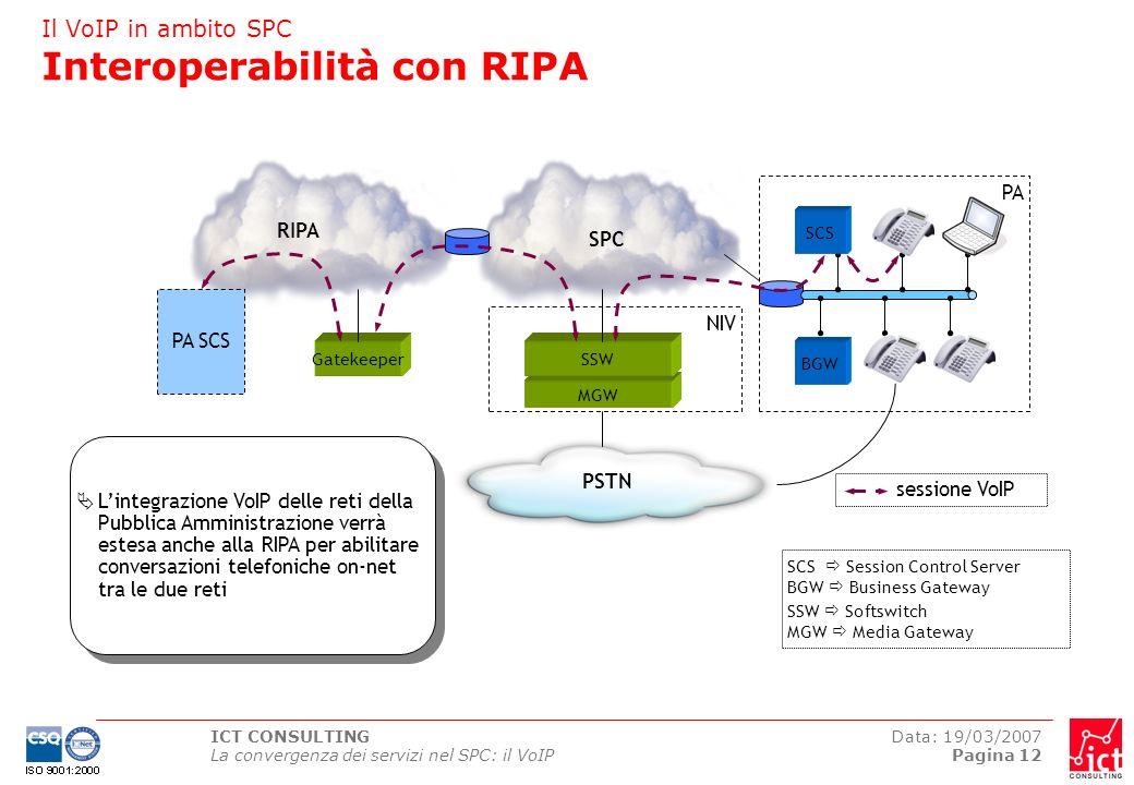 ICT CONSULTING La convergenza dei servizi nel SPC: il VoIP Data: 19/03/2007 Pagina 12 Il VoIP in ambito SPC Interoperabilità con RIPA MGW SPC BGW PSTN