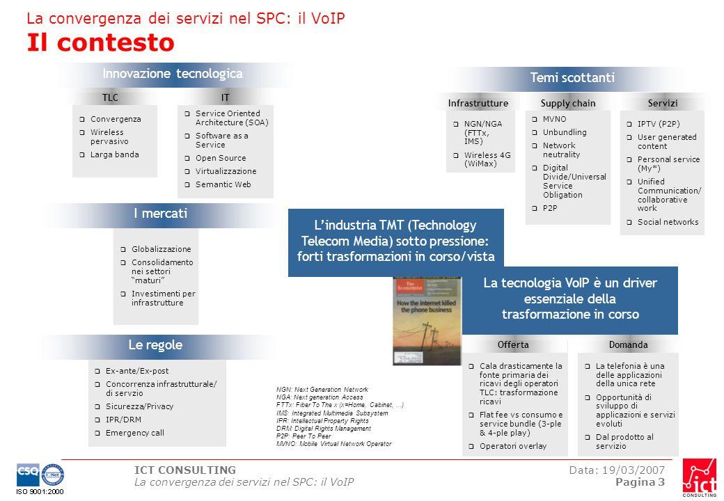 ICT CONSULTING La convergenza dei servizi nel SPC: il VoIP Data: 19/03/2007 Pagina 3 La telefonia è una delle applicazioni della unica rete Opportunit