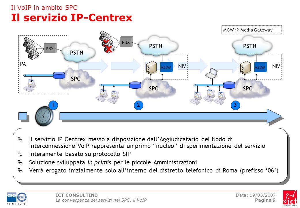 ICT CONSULTING La convergenza dei servizi nel SPC: il VoIP Data: 19/03/2007 Pagina 10 PA2 MGW Il VoIP in ambito SPC Nodo di interconnessione VoIP SPC BGW PA1 BGW PSTN SSW NIV SCS Il nodo di interconnessione VoIP permette alle Amministrazioni di utilizzare linfrastruttura SPC per le comunicazioni inter- dominio I servizi erogati dal nodo di interconnessione VoIP sono disponibili a tutte le Amministrazioni che abbiamo un dominio VoIP conforme agli standard H.323 oppure SIP Il nodo di interconnessione VoIP costituisce un punto centralizzato di connessione alla Rete Telefonica Pubblica SCS Session Control Server BGW Business Gateway SSW Softswitch MGW Media Gateway segnalazione voce