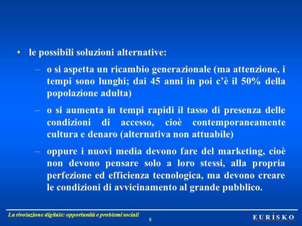 E U R I S K O La rivoluzione digitale: opportunità e problemi sociali 9 Quindi accessibilità, cioè massima fruibilità: - semplificazione duso, - forte attenzione al costo.
