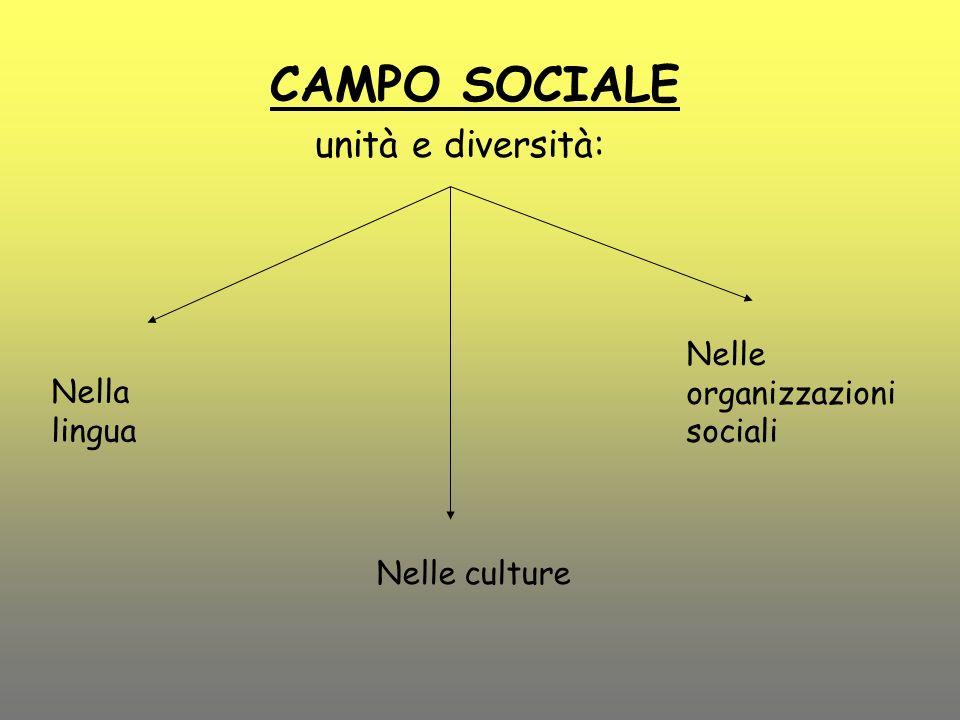 CAMPO SOCIALE unità e diversità: Nella lingua Nelle culture Nelle organizzazioni sociali