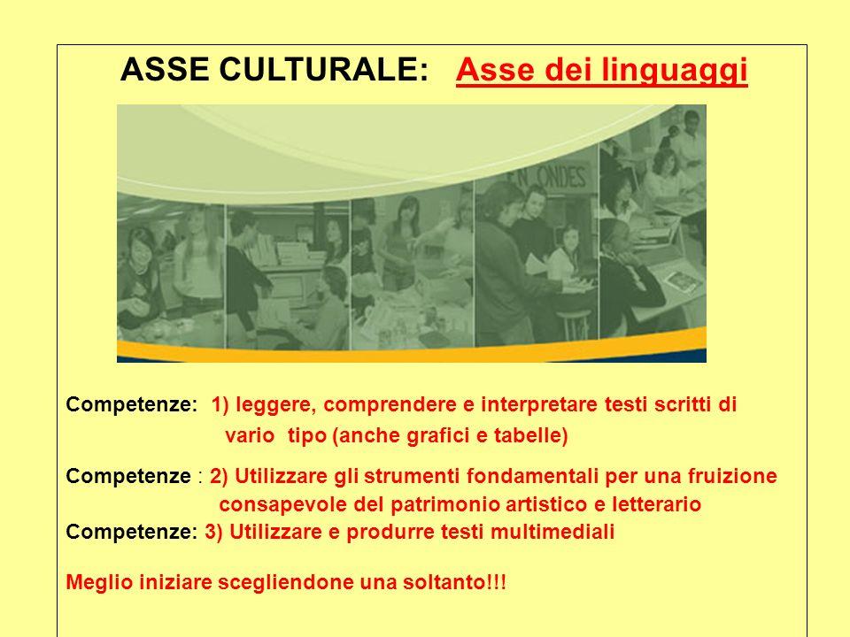 ASSE CULTURALE: Asse dei linguaggi Competenze: 1) leggere, comprendere e interpretare testi scritti di vario tipo (anche grafici e tabelle) Competenze