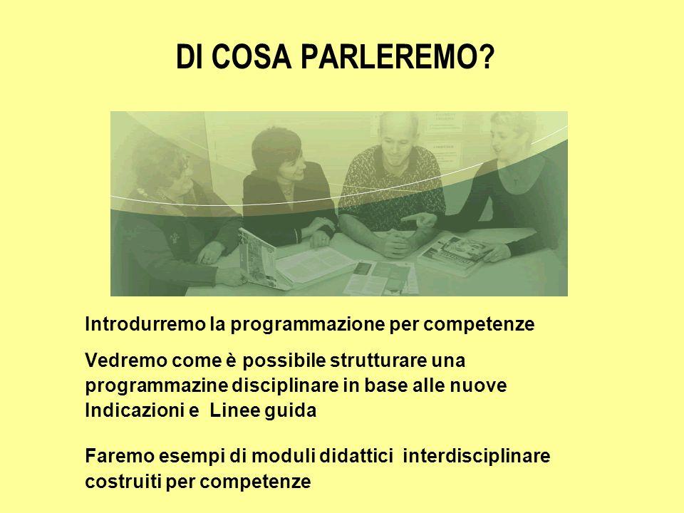 DI COSA PARLEREMO? Introdurremo la programmazione per competenze Vedremo come è possibile strutturare una programmazine disciplinare in base alle nuov
