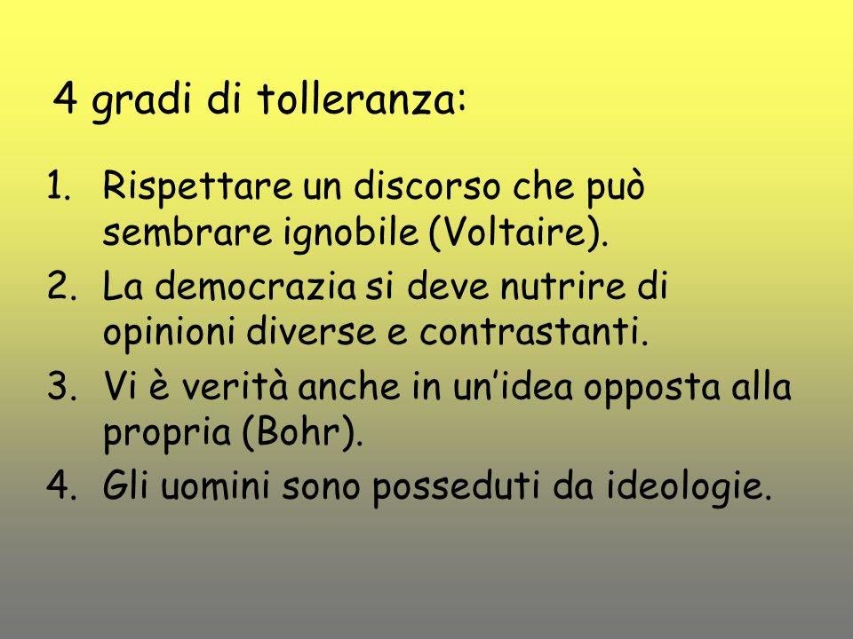 4 gradi di tolleranza: 1.Rispettare un discorso che può sembrare ignobile (Voltaire). 2.La democrazia si deve nutrire di opinioni diverse e contrastan