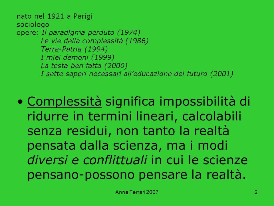 Anna Ferrari 20072 nato nel 1921 a Parigi sociologo opere: Il paradigma perduto (1974) Le vie della complessità (1986) Terra-Patria (1994) I miei demo