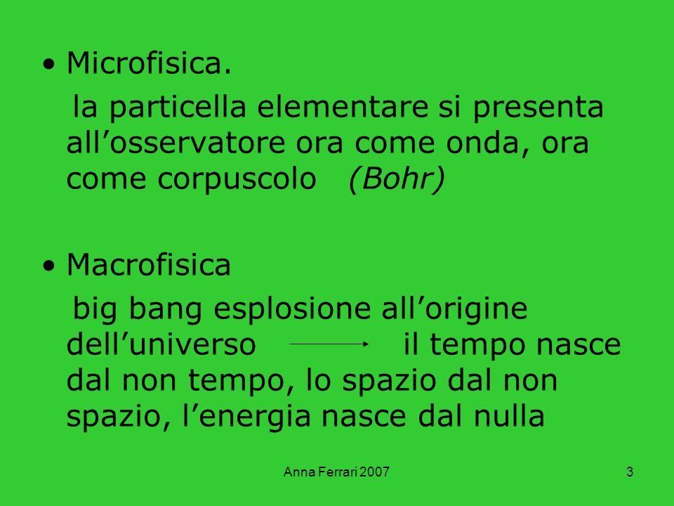 Anna Ferrari 20073 Microfisica. la particella elementare si presenta allosservatore ora come onda, ora come corpuscolo (Bohr) Macrofisica big bang esp