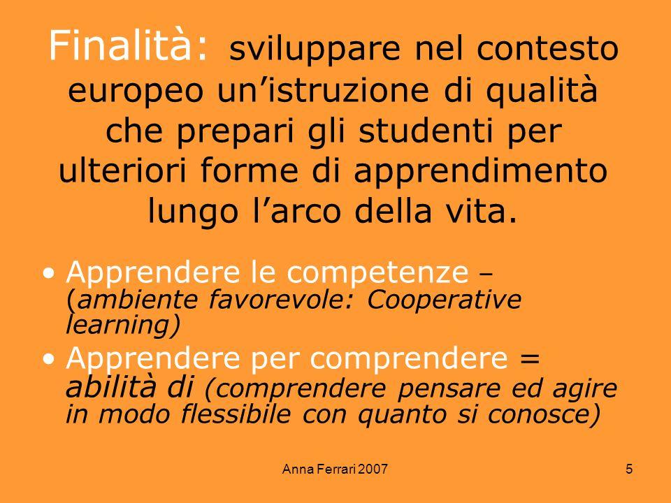 Anna Ferrari 2007 5 Finalità: sviluppare nel contesto europeo unistruzione di qualità che prepari gli studenti per ulteriori forme di apprendimento lu