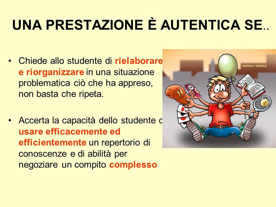 LA COSTRUZIONE DELLE PROVE CERTIFICATIVE LE PRESTAZIONI AUTENTICHE Le Prestazioni autentiche permettono allo studente di dimostrare ciò che sa fare co