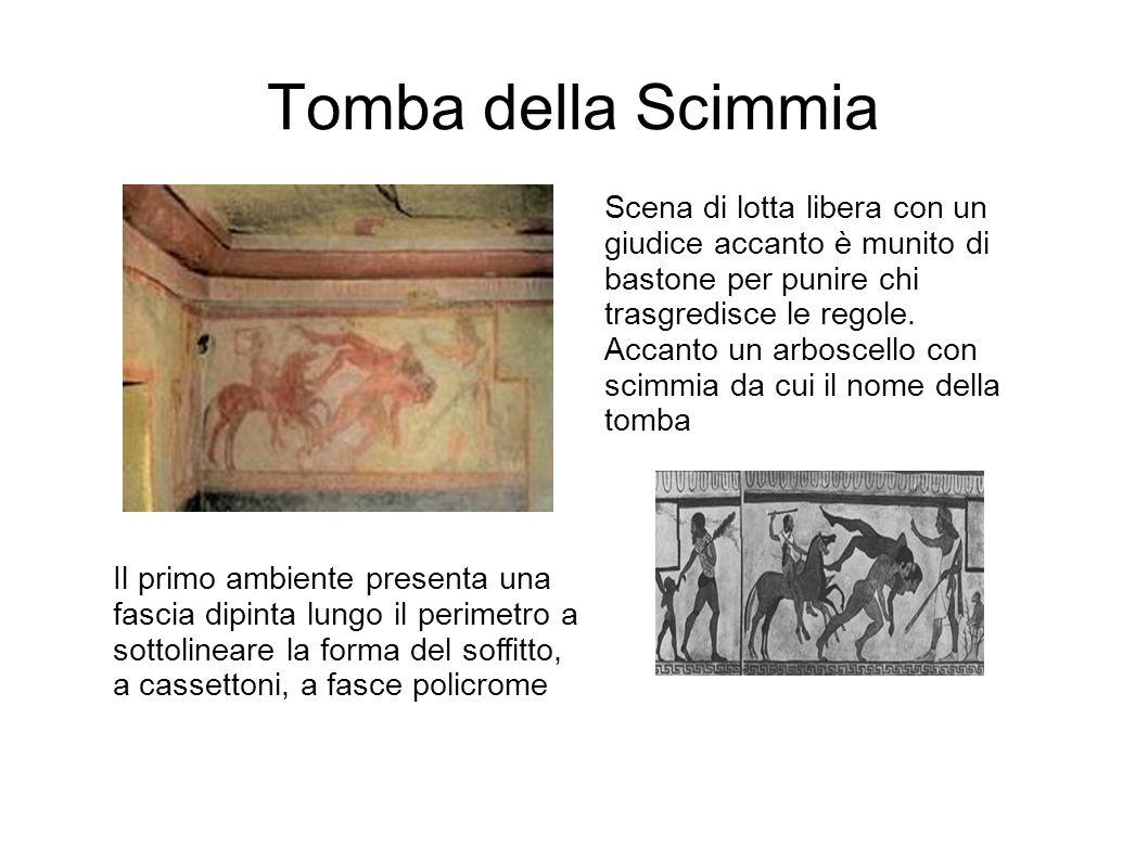Tomba della Scimmia Il primo ambiente presenta una fascia dipinta lungo il perimetro a sottolineare la forma del soffitto, a cassettoni, a fasce polic