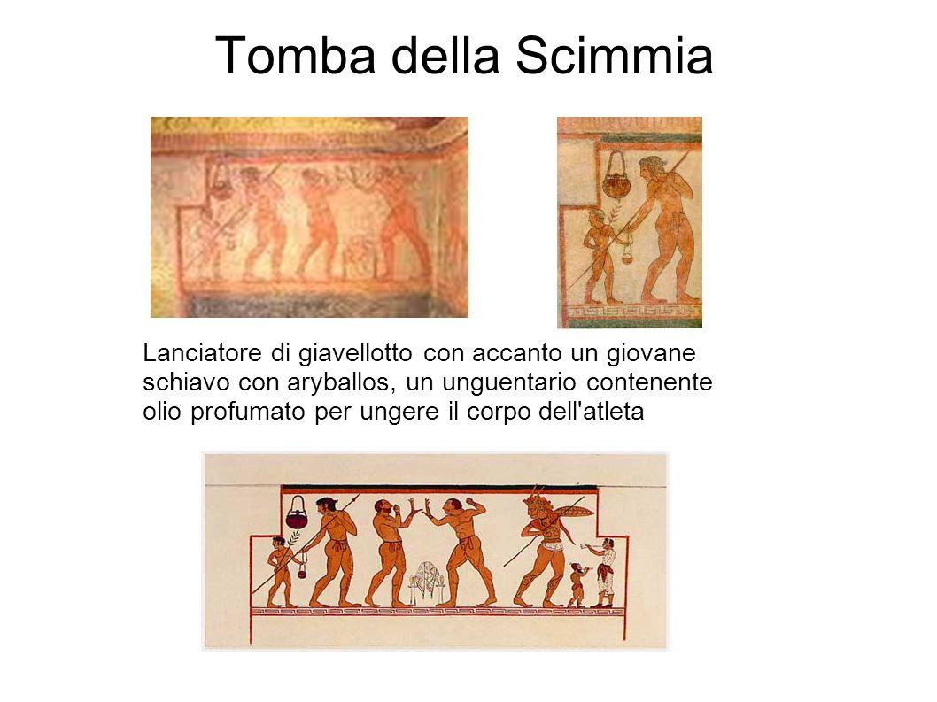 Tomba della Scimmia Lanciatore di giavellotto con accanto un giovane schiavo con aryballos, un unguentario contenente olio profumato per ungere il cor