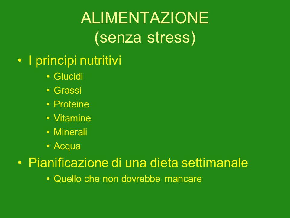 ALIMENTAZIONE (senza stress) I principi nutritivi Glucidi Grassi Proteine Vitamine Minerali Acqua Pianificazione di una dieta settimanale Quello che non dovrebbe mancare