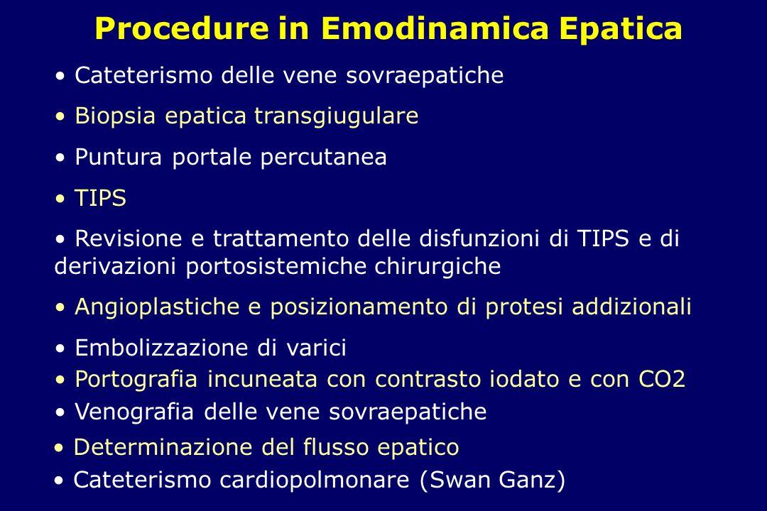 Durata: Cateterismo delle VSE: 15-20 minuti BTG e puntura portale: 30-45 minuti TIPS: >60 minuti...