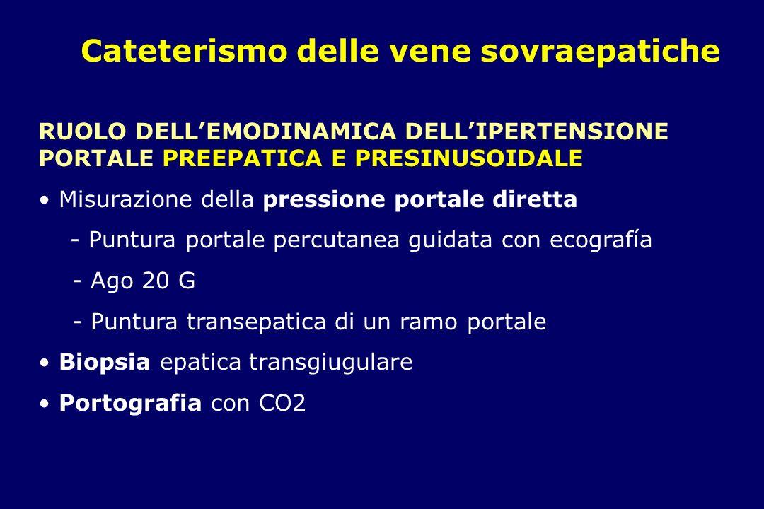 Cateterismo delle vene sovraepatiche RUOLO DELLEMODINAMICA NELLIPERTENSIONE POSTSINUSOIDALE es: SINDROME VENOCCLUSIVA post trapianto di midollo osseo Misurazione delle pressioni - HVPG - VCI Suggestivo se HVPG 9 mmHg o superiore.