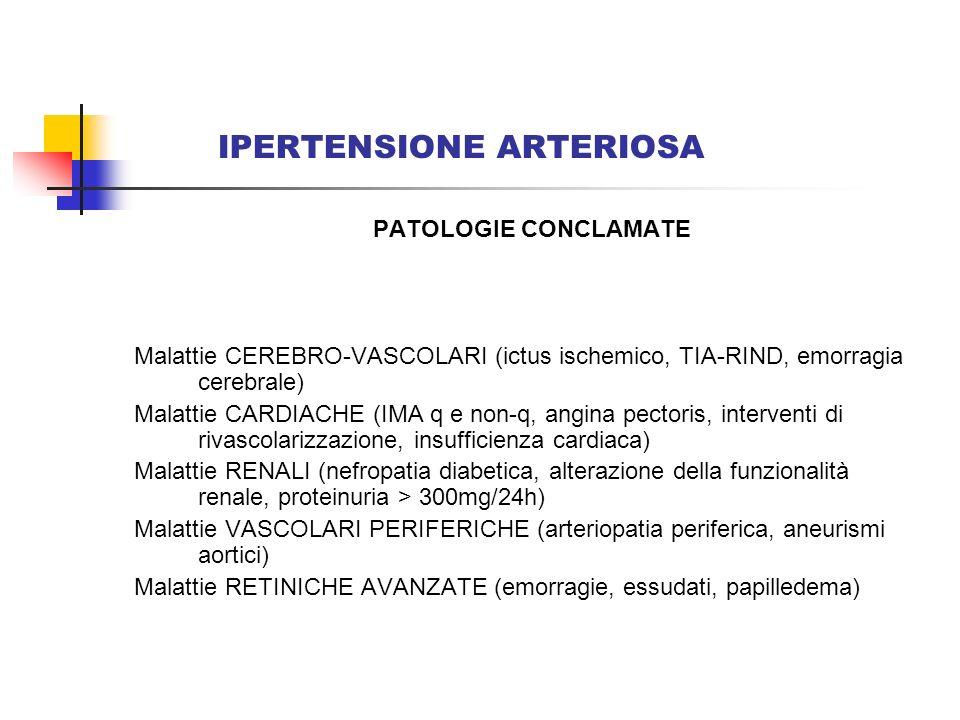 IPERTENSIONE ARTERIOSA PATOLOGIE CONCLAMATE Malattie CEREBRO-VASCOLARI (ictus ischemico, TIA-RIND, emorragia cerebrale) Malattie CARDIACHE (IMA q e no