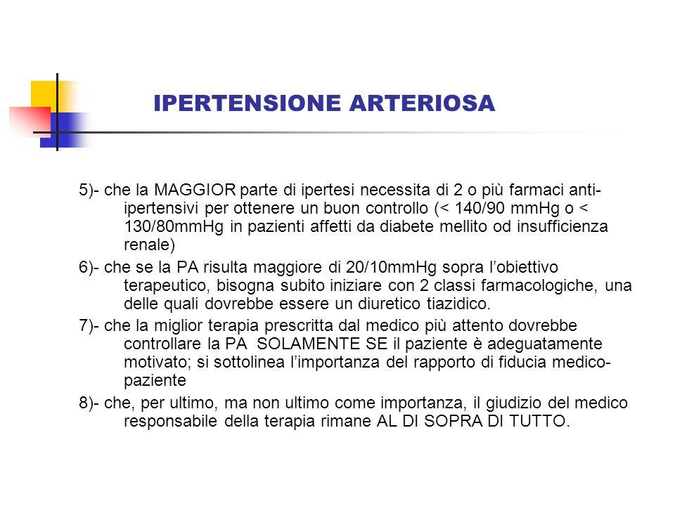 IPERTENSIONE ARTERIOSA 5)- che la MAGGIOR parte di ipertesi necessita di 2 o più farmaci anti- ipertensivi per ottenere un buon controllo (< 140/90 mm