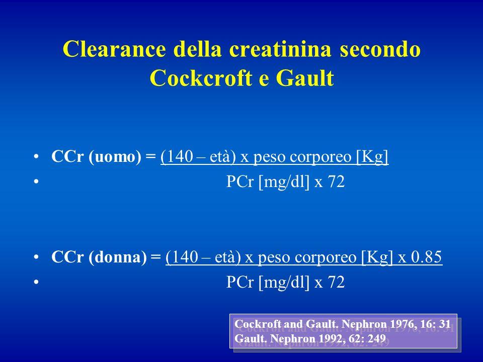 Clearance della creatinina secondo Cockcroft e Gault CCr (uomo) = (140 – età) x peso corporeo [Kg] PCr [mg/dl] x 72 CCr (donna) = (140 – età) x peso c