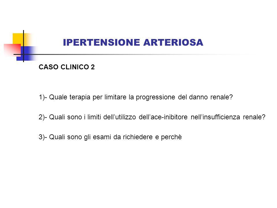 IPERTENSIONE ARTERIOSA CASO CLINICO 2 1)- Quale terapia per limitare la progressione del danno renale? 2)- Quali sono i limiti dellutilizzo dellace-in