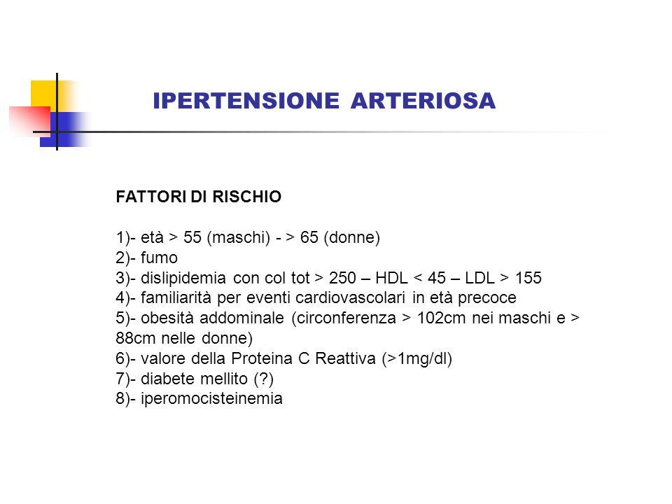 IPERTENSIONE ARTERIOSA DANNO DORGANO Ipertrofia Ventricolare Sx (allecg o allecocardio) Ispessimento ecografico della parete arteriosa carotidea Lieve aumento della creatininemia (1.3-1.5mg/dl negli uomini e 1.2- 1.4mg/dl nelle donne) Presenza e valore della microalbuminuria (30-300mg/24h)