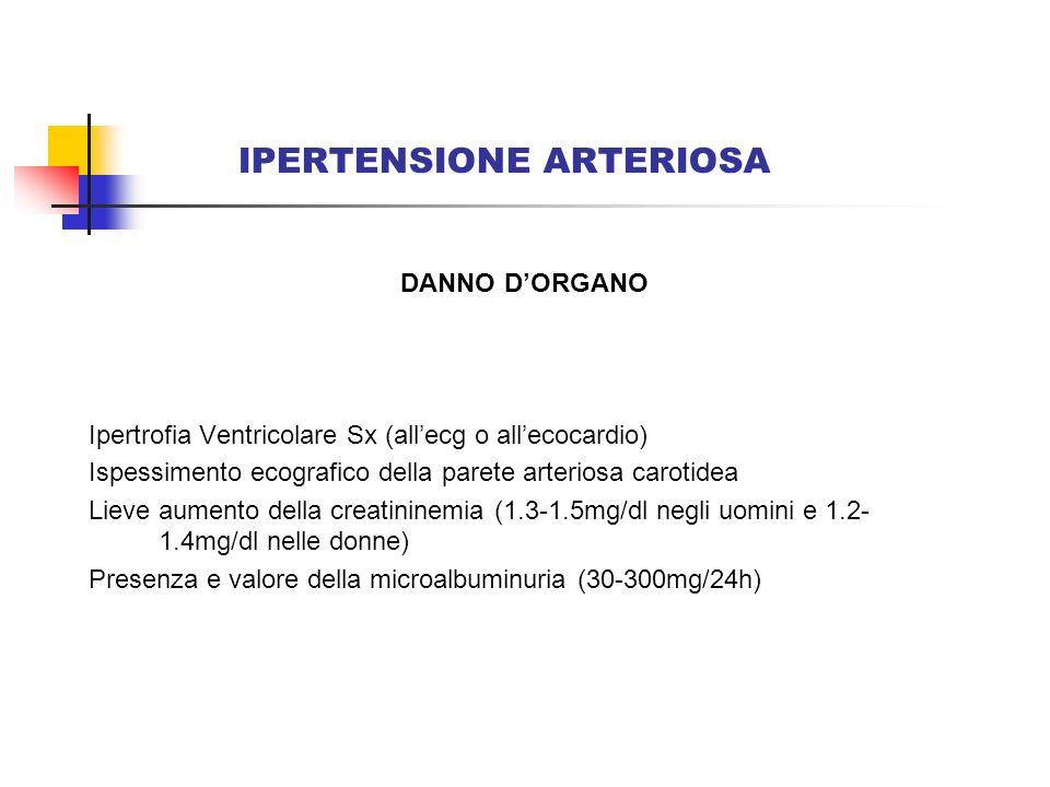 IPERTENSIONE ARTERIOSA DANNO DORGANO Ipertrofia Ventricolare Sx (allecg o allecocardio) Ispessimento ecografico della parete arteriosa carotidea Lieve