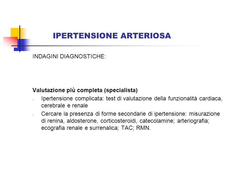 IPERTENSIONE ARTERIOSA INDAGINI DIAGNOSTICHE: Valutazione più completa (specialista) - Ipertensione complicata: test di valutazione della funzionalità