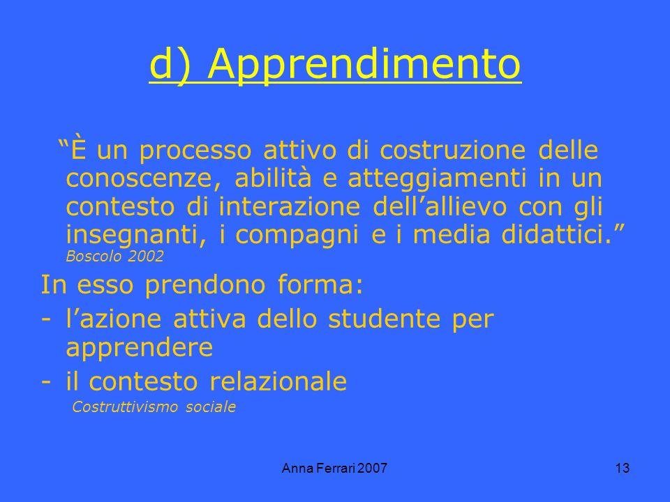 Anna Ferrari 200713 d) Apprendimento È un processo attivo di costruzione delle conoscenze, abilità e atteggiamenti in un contesto di interazione dellallievo con gli insegnanti, i compagni e i media didattici.