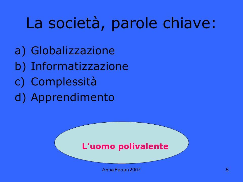 Anna Ferrari 20075 La società, parole chiave: a)Globalizzazione b)Informatizzazione c)Complessità d)Apprendimento Luomo polivalente