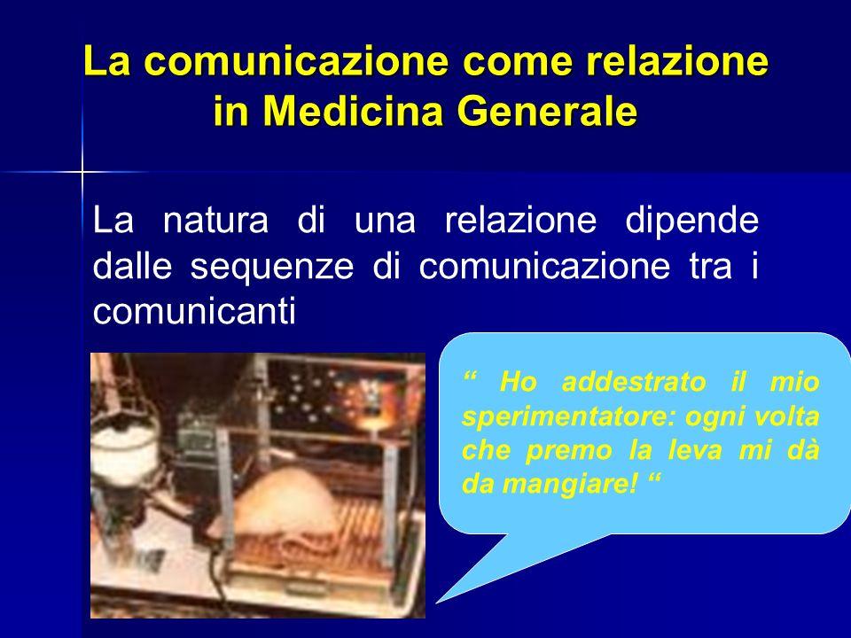 La comunicazione come relazione in Medicina Generale La natura di una relazione dipende dalle sequenze di comunicazione tra i comunicanti Ho addestrat