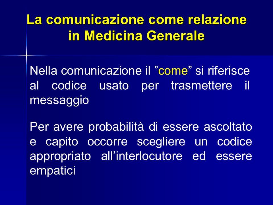 La comunicazione come relazione in Medicina Generale Nella comunicazione il come si riferisce al codice usato per trasmettere il messaggio Per avere p