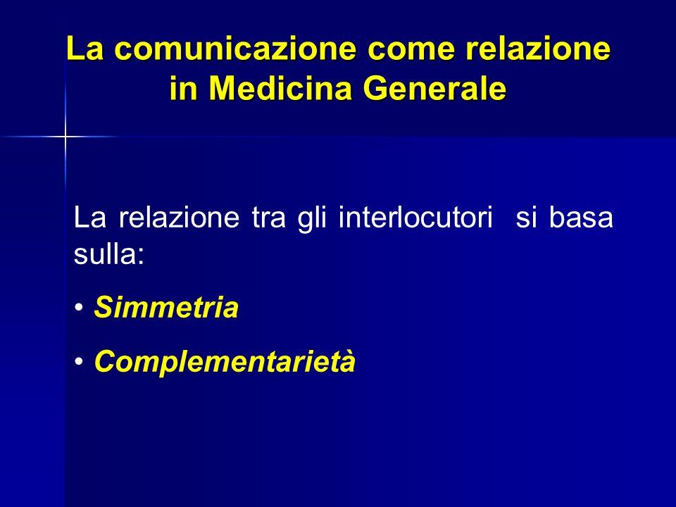 La comunicazione come relazione in Medicina Generale La relazione tra gli interlocutori si basa sulla: Simmetria Complementarietà
