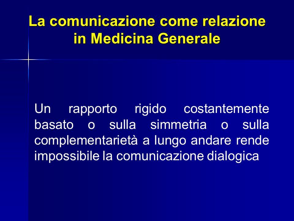 La comunicazione come relazione in Medicina Generale Un rapporto rigido costantemente basato o sulla simmetria o sulla complementarietà a lungo andare